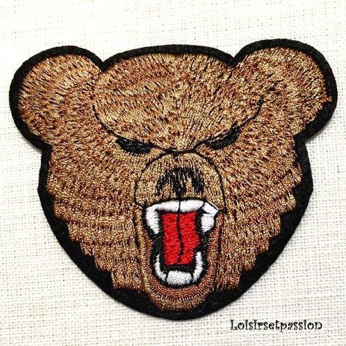 Écusson patch thermocollant - tête ours marron ** 8 x 7 cm ** applique brodée à repasser