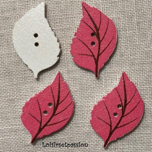 Bouton bois, feuille / rose marron ** 22 x 34 mm ** bouton fantaisie 2 trous - vendu à l'unité - bbf40
