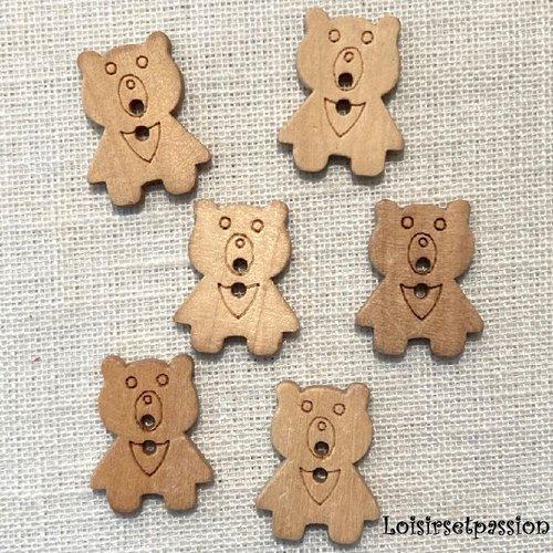 Lot de 6 boutons bois naturel - ourson nounours ** 18 x 22 mm ** bouton fantaisie 2 trous - bb18