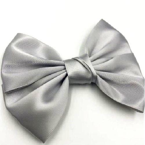 Gros noeud double ruban satin / gris ** 11 x 8 cm ** applique à coudre vendu à l'unité - n°29