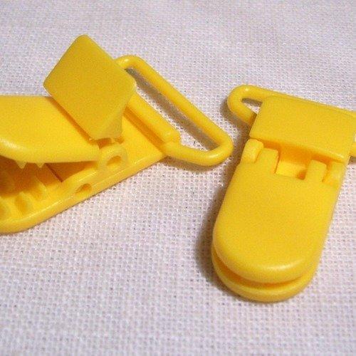 B10 ** 20 mm ** jaune tournesol - clip pince kam bretelle crocodile attache tétine plastique