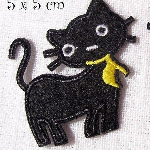 ÉCUSSON PATCH BRODÉ thermocoll​ant CHAT KITTY SUCETTE ** 4 x 7 cm **