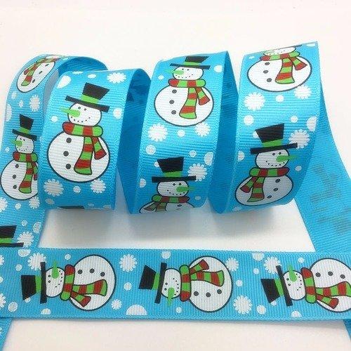 RUBAN GROS GRAIN ** 25 mm ** Bonhomme de neige Joyeux Noël Bleu vendu au mètre