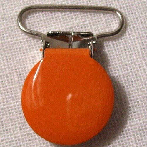Clip tétine / pince ronde uni émaillée / orange ** 25 mm ** attache tétine, doudou, bretelle