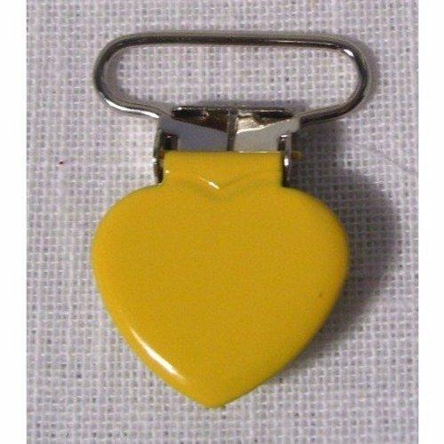 Clip tétine / pince coeur uni émaillée / jaune tournesol ** 25 mm ** attache tétine, doudou, bretelle