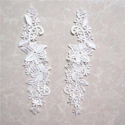 LOT de 2 APPLIQUES DENTELLE SYMÉTRIQUE GUIPURE 30 x 8 cm BLANC CRÈME ACD18