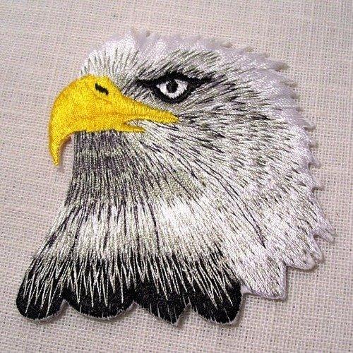Applique patch écusson thermocollant - tête faucon aigle royal blanc gris ** 7 x 7 cm ** applique à repasser