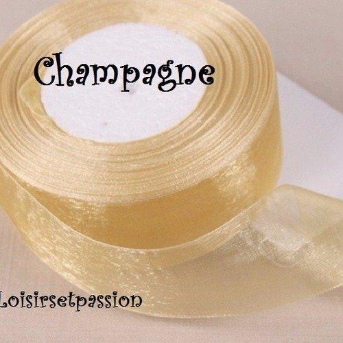 10 mètres de ruban voile organza ** 12 mm ** champagne