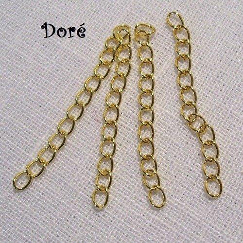 Lot de 100 pcs doré - chaines chaînettes d'extension ** 50 x 3 mm ** rallonge bijoux