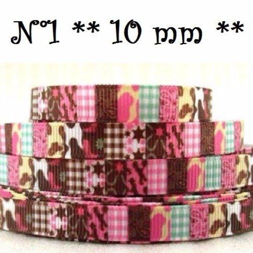 Ruban gros grain imprimé ** 10 mm / n°1 ** carré vichy animal géométrique patchwork - vendu par 50 cm