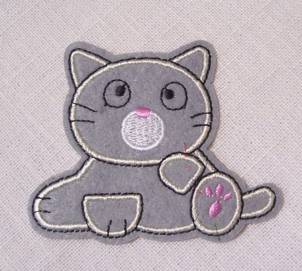 ÉCUSSON PATCH BRODÉ thermocollant CHAT COOL CAT ** 8 x 10 cm **