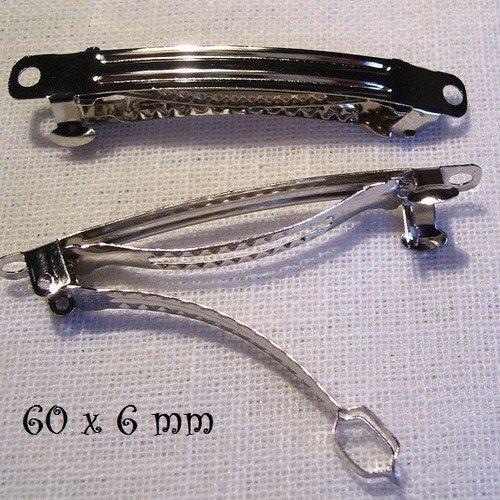Barrette clip cheveux métal argenté ** 6 cm / 60 mm ** support à décorer à customiser - vendu à l'unité