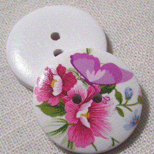 30/262 ** 3 cm / 30 mm **  bouton rond bois vernis décoré - collection fleur - couture mode vintage