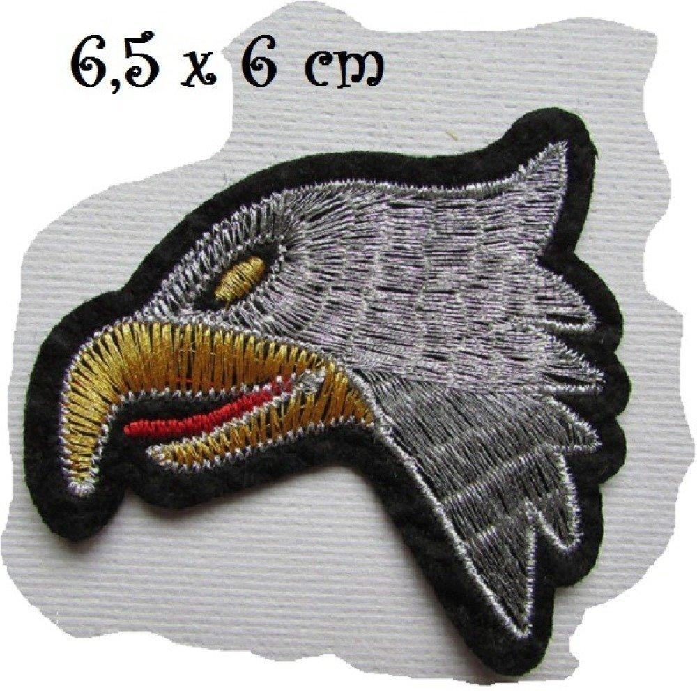 ÉCUSSON PATCH - Oiseau Aigle Fils Argenté et doré ** 6,5 x 6 cm **  Applique brodée thermocollante