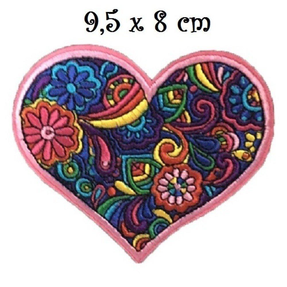 Ecusson Patch Coeur Mandala Patchwork Rose Multicolore 9 5 X 8 Cm Applique Brodee Thermocollante Un Grand Marche