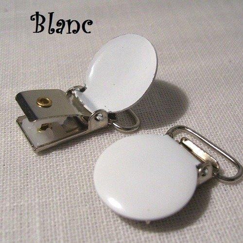 Clip pince tétine ronde émaillée ** 20 mm ** blanc - attache tétine, doudou, bretelle