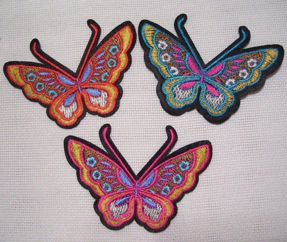Écusson patch PAPILLON ailes multicolores Turquoise** 8 x 6 cm ** applique thermocollante