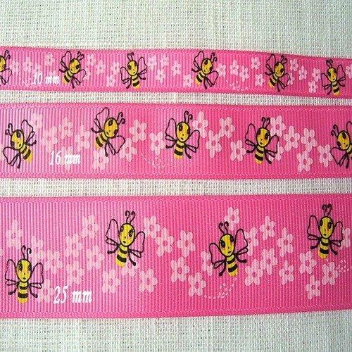 Ruban gros grain ** 25 mm ** abeille fleur fond fraise - galon imprimé - vendu par 50 cm