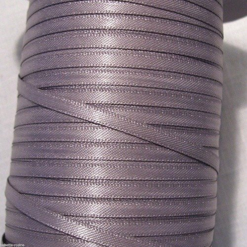 017 / gris taupe ** 3 mm ** ruban satin luxe double face - vendu au mètre