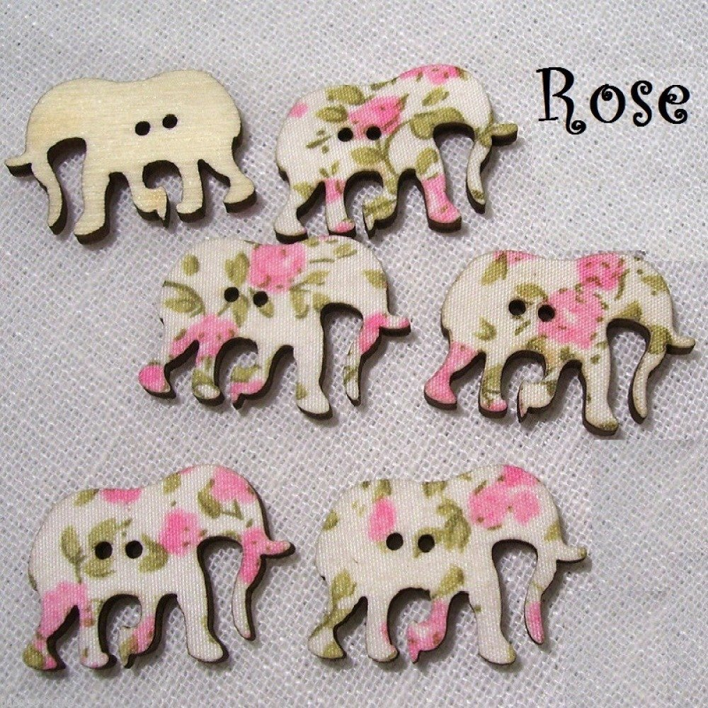 B29 / Éléphant Rose - BOUTON BOIS DÉCORATIF - Imprimé Effet Tissu Fleuri ** 30 x 21 mm ** Vendu à l'unité