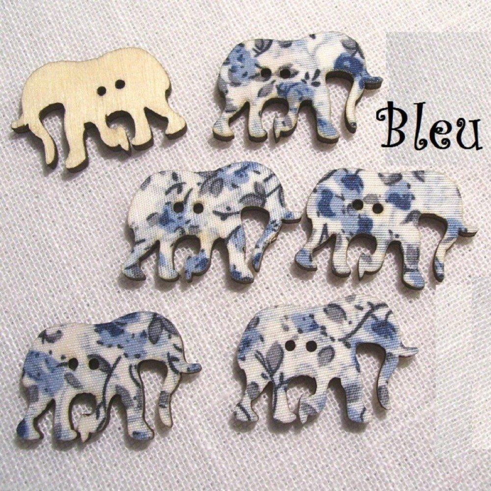B29 / Éléphant Bleu - BOUTON BOIS DÉCORATIF - Imprimé Effet Tissu Fleuri ** 30 x 21 mm ** Vendu à l'unité