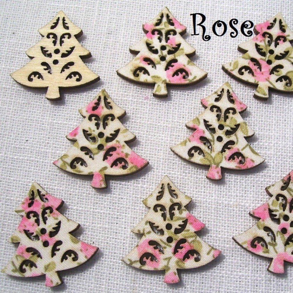 B29 / Sapin de Noël Rose - BOUTON BOIS DÉCORATIF - Imprimé Effet Tissu Fleuri ** 27 x 30 mm ** Vendu à l'unité