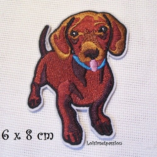 ÉCUSSON PATCH BRODE thermocollant ** 7 x 8 cm ** CHIEN BLANC et BRIQUE