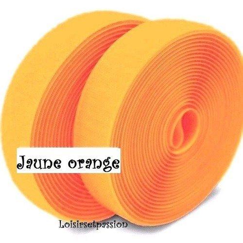 Bande scratch auto accrochant, jaune orange ** 20 mm ** ruban agrippant, à coudre - vendu par 50 cm