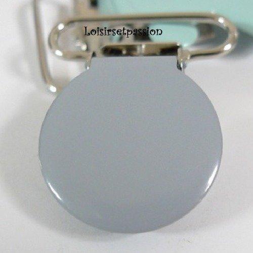Clip tétine / pince ronde uni émaillée / gris ** 25 mm ** attache tétine, doudou, bretelle