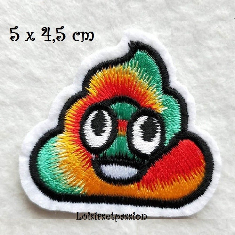 Patch écusson Thermocollant Crotte Caca Bouse Merde Boue Vert Jaune Orange 5 X 55 Cm Applique à Repasser