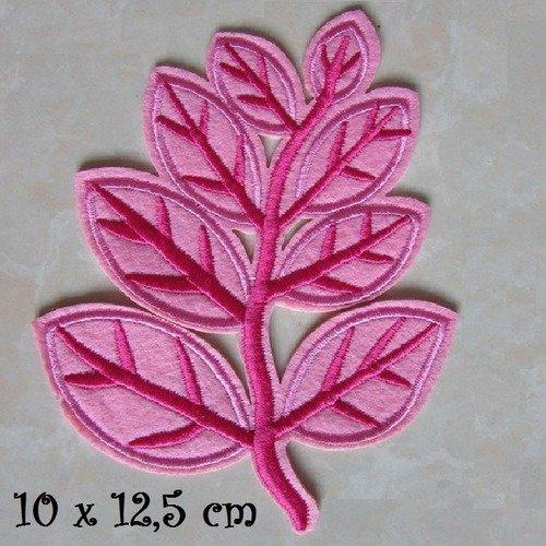 ÉCUSSON APPLIQUE PATCH thermocollant FEUILLE ARBRE NATURE VERT,10 x 12,5 cm