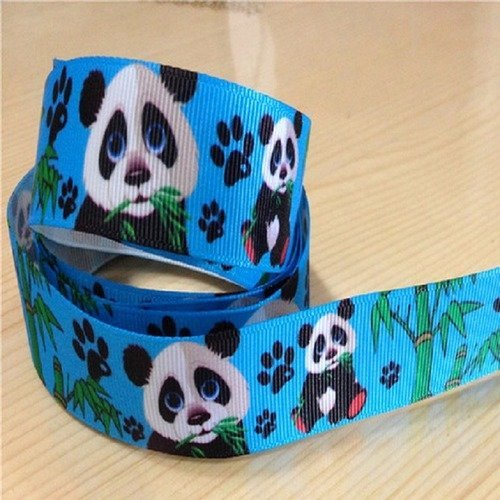 Ciel Bleu vendu au mètre RUBAN GROS GRAIN ** 22 mm ** Panda Ourson Bambou