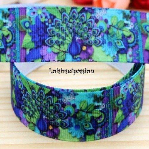 Ruban gros grain violet Arabesque verte Fleur /& Papillon de 22 mm vendu au mètre
