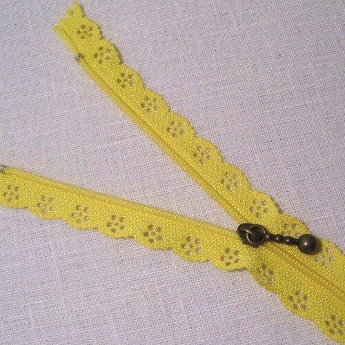 Couleur Jaune Zip// Fermeture éclair dentelle non séparable de 25 cm