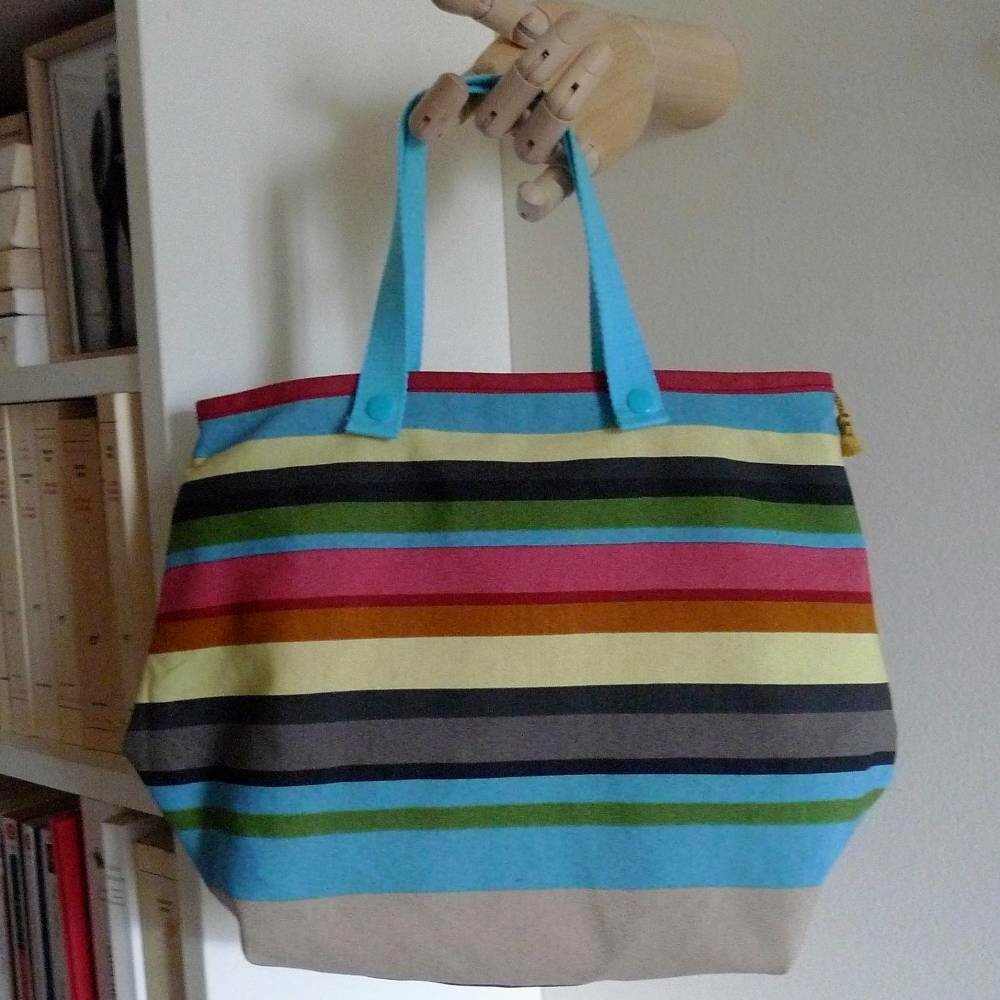 sac à main en coton à rayures bayadères