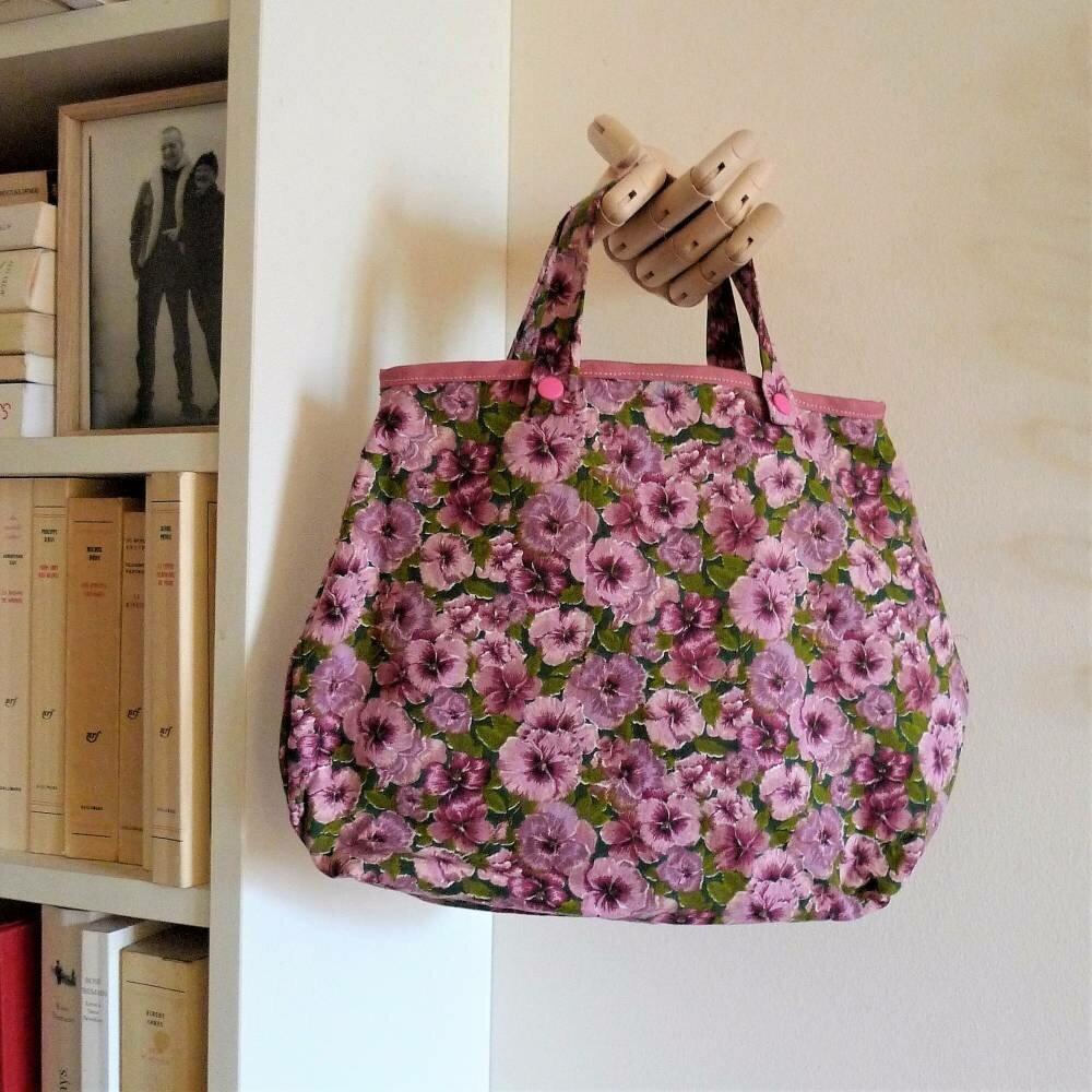 sac à main en coton, petites fleurs et anses interchangeables courtes ou longues