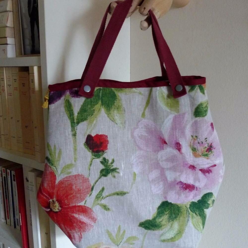 sac à main en beau lin à grandes fleurs entièrement doublé