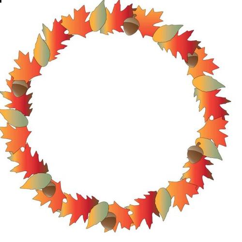 Autocollant stickers couronne de feuilles couleurs automne embellissement scrapbooking