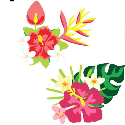 Autocollant stickers bouquet de fleurs exotiques tropical été caraïbes îles embellissement scrapbooking