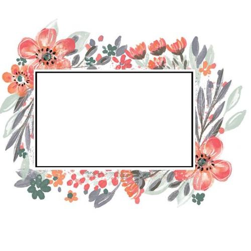 Autocollant stickers cadre avec fleurs embellissement scrapbooking