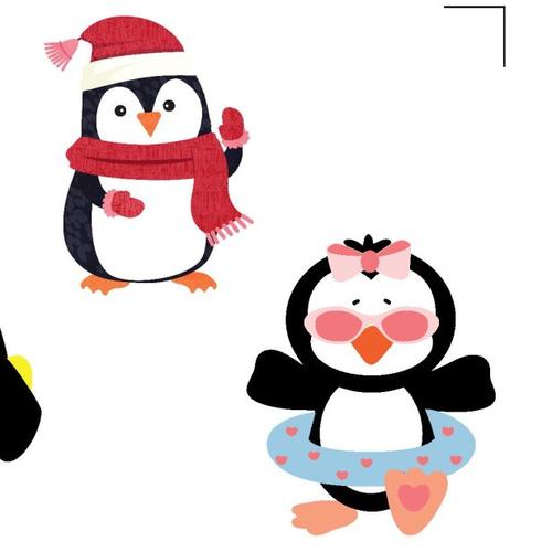 Autocollant stickers pingouins en été en hiver dessins animés embellissement scrapbooking