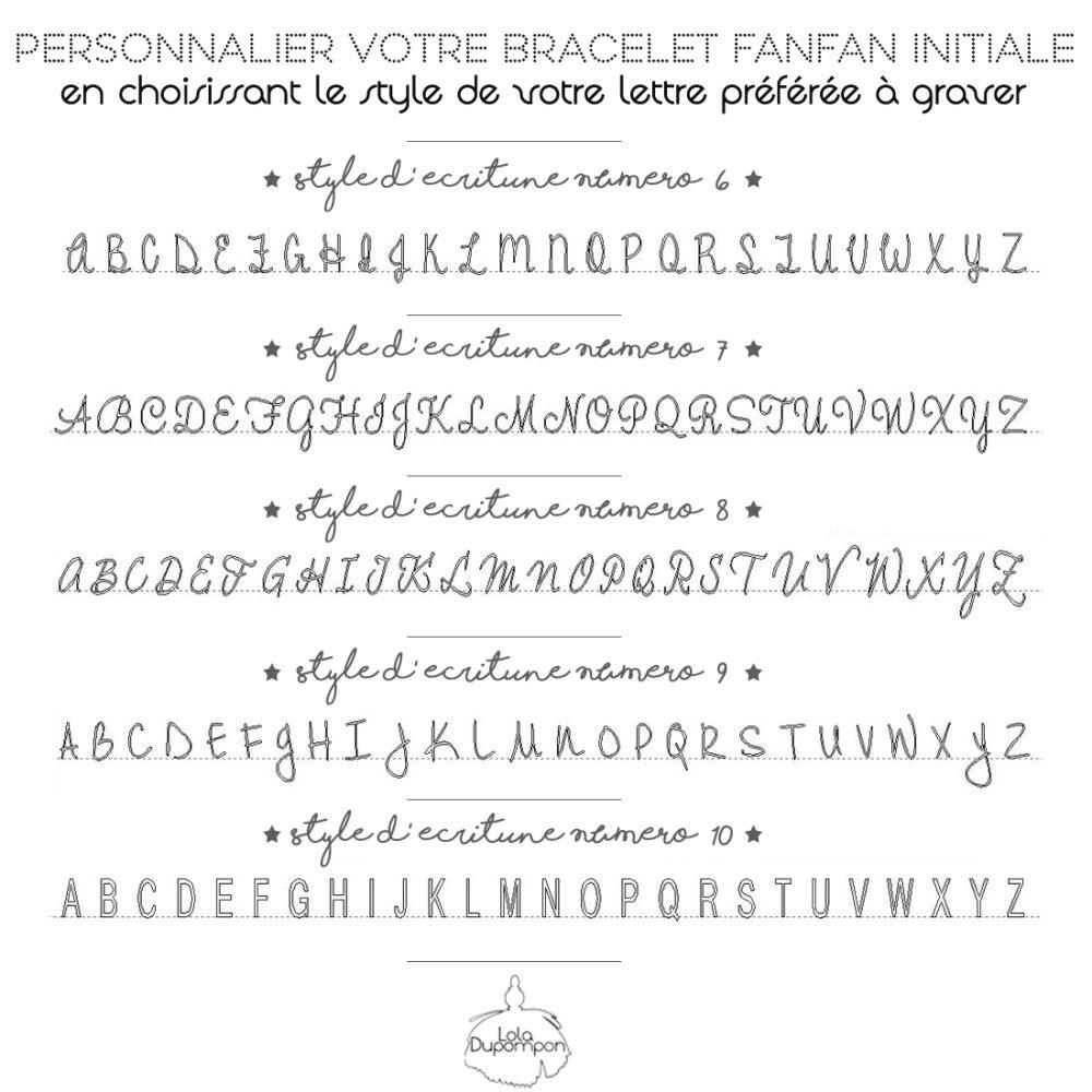 Bracelet Personnalisé Fanfan Initiale - Style d'écriture 7