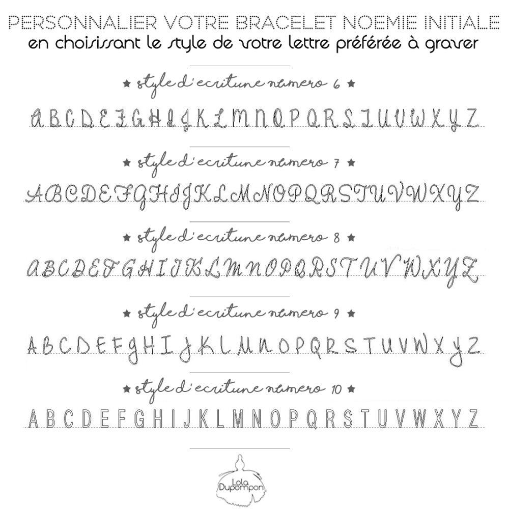 Bracelet Personnalisé Noémie Initiale - Style d'écriture 2