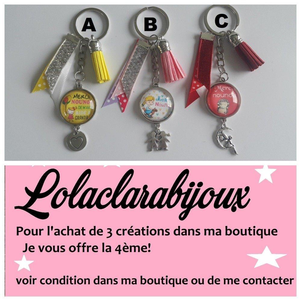 """porte clés nounou"""" merci nounou de m'avoir aidé à grandir """" by lolaclarabijoux"""