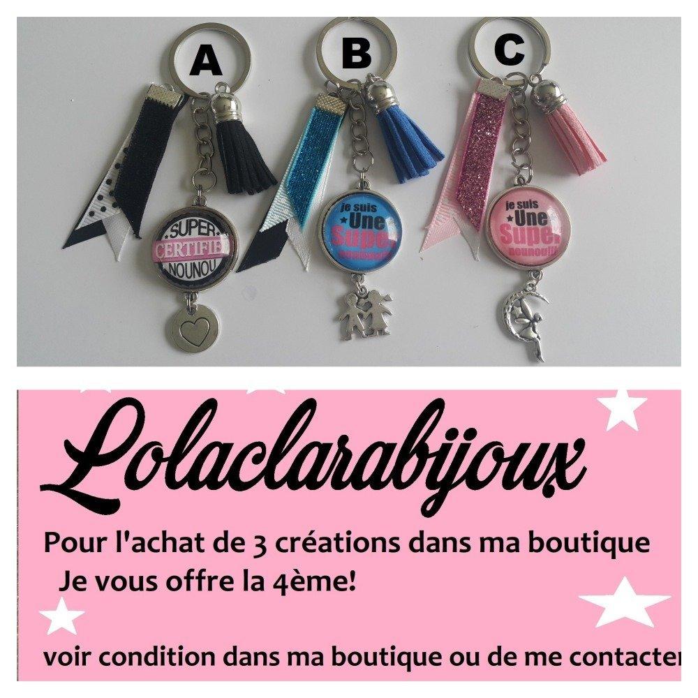 """porte clés nounou"""" je suis une super nounou """" by lolaclarabijoux"""