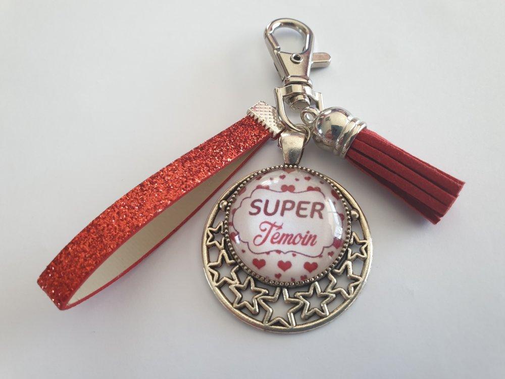 """porte clés - bijou de sac témoin de mariage,""""une super témoin"""""""
