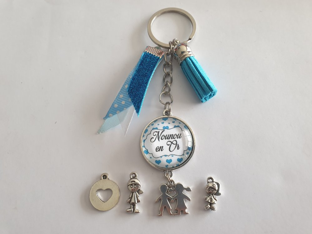 """porte clés nounou, cadeau Nounou, """"une nounou en or"""""""
