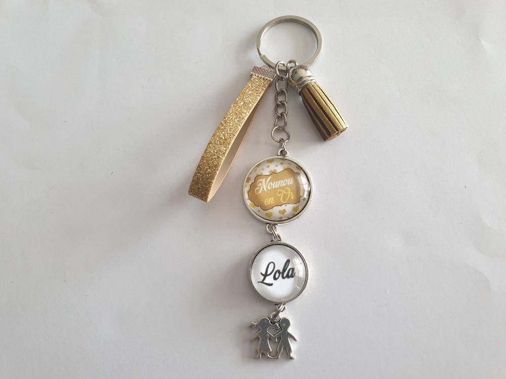 porte clés nounou en or, cadeau Nounou