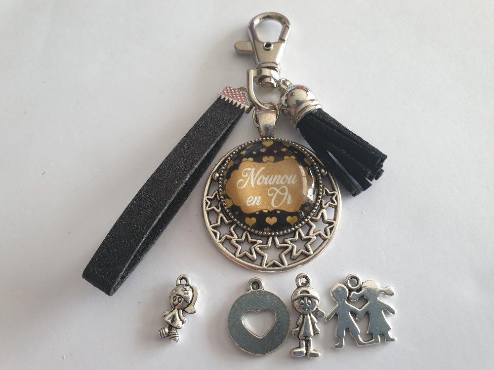 porte-clés nounou, bijou de sac pour une nounou en or