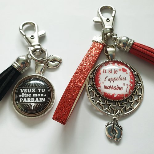 Porte clés demande parrain et marraine, veux tu être mon parrain?, veux tu être ma marraine?